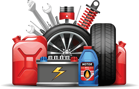 Car service center wheels tires oil and gas canister